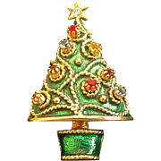 Christmas Tree Pin with Pierced Earrings