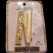 Vintage Letter N Pin on Original Card