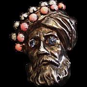 Rhinestone Turbaned Man Pin