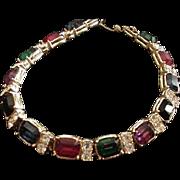 Vibrant Jewel Tones Rhinestone Bracelet