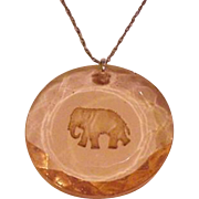 Pale Pink Glass Elephant Intaglio Necklace