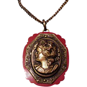 Cellulliod and Brass Cameo Necklace
