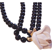 KJL for Avon White Rose Necklace