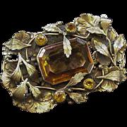 Leafy Brass and Glass Big Rhinestone Pin