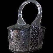 Silver Clear and Confetti Lucite Box Purse