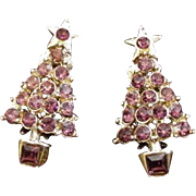 Purple Rhinestone Christmas Tree Earrings