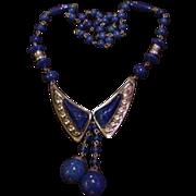 Czech Blue Glass and Brass Necklace