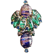 Aventurine Rhinestones Layered Pin
