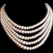 Art Deco Rhinestone Clasp Five Strand Faux Pearl Necklace