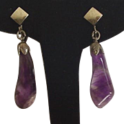 Amethyst Purple Drop Clip on Earrings