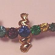 Vintage Czech Brass and Glass Rhinestone Lizard Pin