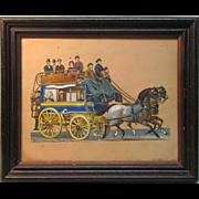 Framed Victorian Die Cut of Stage Coach