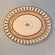 Turner Creamware Basketweave Pattern Oval Tray ca 1800