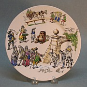 SALE Longwy Pottery Plate with Scenes of Village Life circa 1885