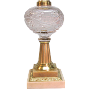 Marble and Brass Column Oil Lamp ca. 1865