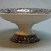 SALE Large Ironstone Compote with Black Transfer ca. 1850