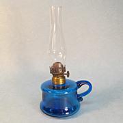 "SALE Blue ""Buttercup"" Hand Lamp ca. 1880"