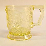 SALE Vaseline Pressed Glass Mug with Grape Pattern