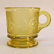 "SALE ""Dahlia"" Pattern Amber Pressed Glass Mug"