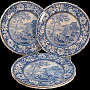 Four Blue Transfer Staffordshire Plates ca. 1825-30