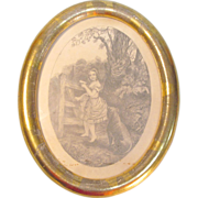 Small Oval Gilt Frame with Victorian Lithograph