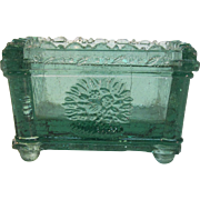 "New England Glass Company ""Flower Basket"" Rectangular Green Salt ca. 1835"