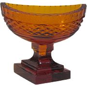 SOLD Anglo-Irish Style Amber Cut Glass Salt
