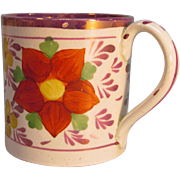 Mug with Pink Luster and Red Flowers ca. 1820