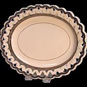 Creamware Lattice Edge Tray with Silver Luster ca. 1810
