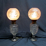 Pair Antique Cut Glass Oil Lamps