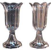 Pair Clear Flint Sandwich Glass Vases ca. 1850-60