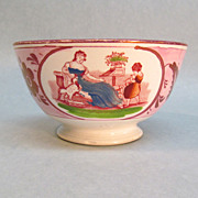Pink Luster Bowl with Transfer of Mother and Child ca. 1825
