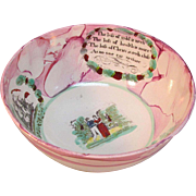 """Pink  Luster """"Sailor's Farewell"""" Punch Bowl ca. 1840"""