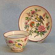 Creamware Printed Tea Bowl and Saucer