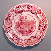 "SALE Staffordshire Plate ""North Conway, New Hampshire"""