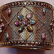 REDUCED Gold plated metal With Rhinestones Ornate Clamper Bracelet