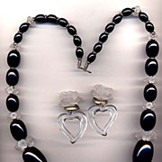 Large Black and Frosted Lucite Flower and Ball Necklace Set