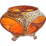 Beautiful Vintage Beveled Edge Glass Ormolu Gilt Jewel Casket