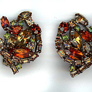 REDUCED Autumn Colored Rhinestone Signed Weiss Earrings