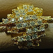Gold Tone Abstract Cocktail Ring with F aux Diamonds, 1960's.