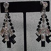 Dramatic 1950's Rhinestone Drop Earrings by Kramer!