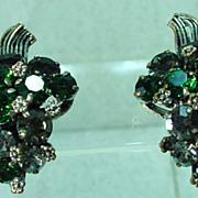 Beautiful Made in Austria Rhinestone Clip -On Earrings 1950's.