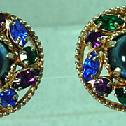 Charming Barclay Clip On Earrings with Rhinestone and Cabochons, 1950's.