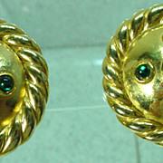 1980's Moritz Gold Tone Clip On Earrings, Elegant!