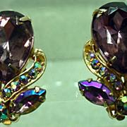 Garne Vintage Clip On Rhinestone Earrings, 1950's.