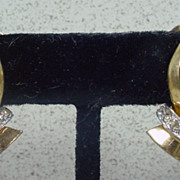 Deco Inspired, Mazer, Gold Tone and Rhinestone Clip On Earrings, 1940's.