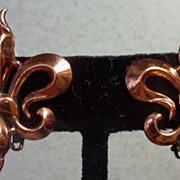1950's, Renoir, Copper Clip On Earrings.