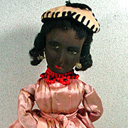 Unusual Vintage Black Cloth Lady Doll with Straw Stuffed Body