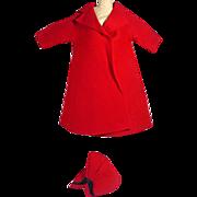 SOLD Vintage Madame Alexander Cissy Red Felt Spring Coat with Matching Hat, 1950's