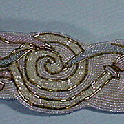 Vintage  Christian Dior Beaded White and Gold Belt, 1990's